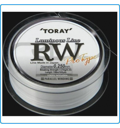 LENZA TORAY RW LUMINOUS LINE 150MT 0.305mm 5.99Kg COLORE LW BIANCO FLUO SPINNING