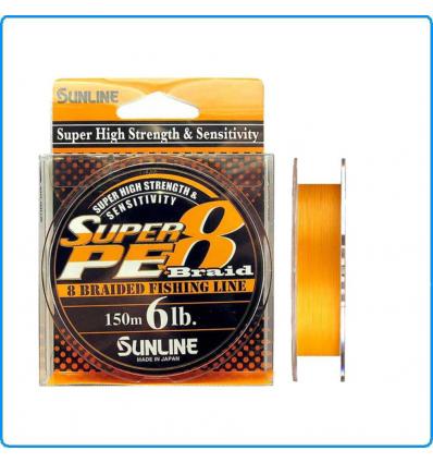 DYNEEMA SUPER PE8 SUNLINE 15lb 0.205mm 150mt ORANGE SPINNING BOLENTINO TRAINA