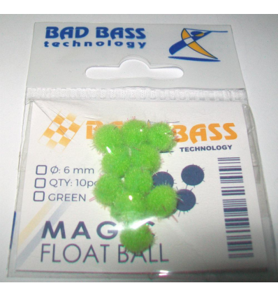 ATTRATTORI BAD BASS MAGIC FLOAT BALL COLORE GREEN 6mm PER TERMINALI CONF 10PZ