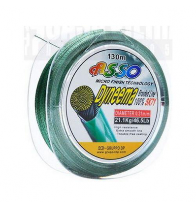 DYNEEMA ASSO PE BRAIDED TECHNOLOGY MF SK71 0.33 130mt KG26.60 COLORE VERDE